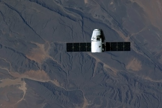 Dragon in orbit above sub-Saharan Africa.