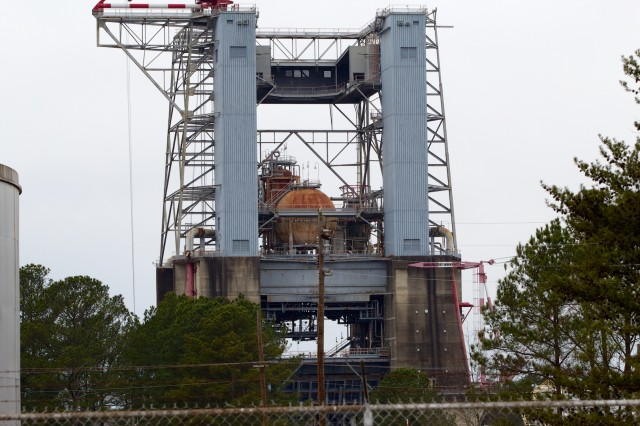 The test stand used for the F-1 engine firing in the 1960s has been repurposed many times since then. Retrofitting it for use with an F-1 engine again would be cost-prohibitive... and the test would blow out every window in Huntsville.