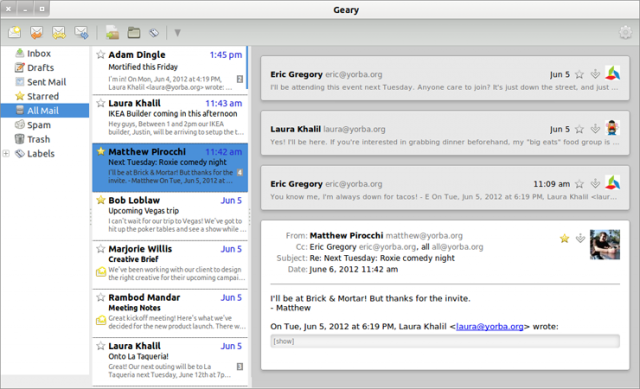 An early version of the Geary e-mail client.