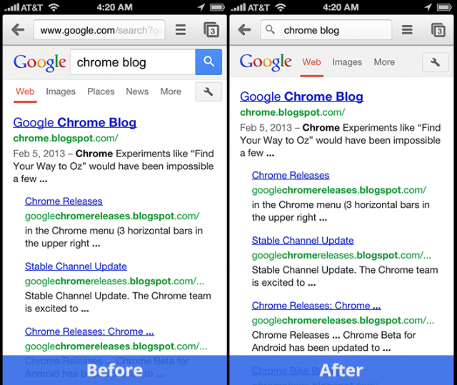The changes to Chrome for iOS are more cosmetic in nature, since third-party browsers have to use Apple's rendering engine.