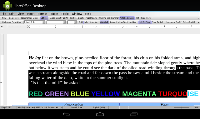 A pre-alpha version of LibreOffice for Android, running on a Nexus 7.