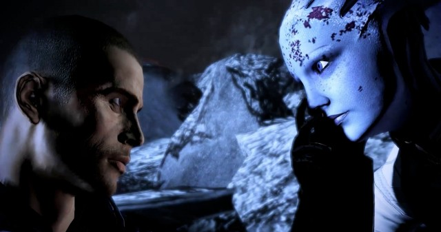 "Saying a battlefield goodbye to Liara, from the ""Extended Cut"" DLC."