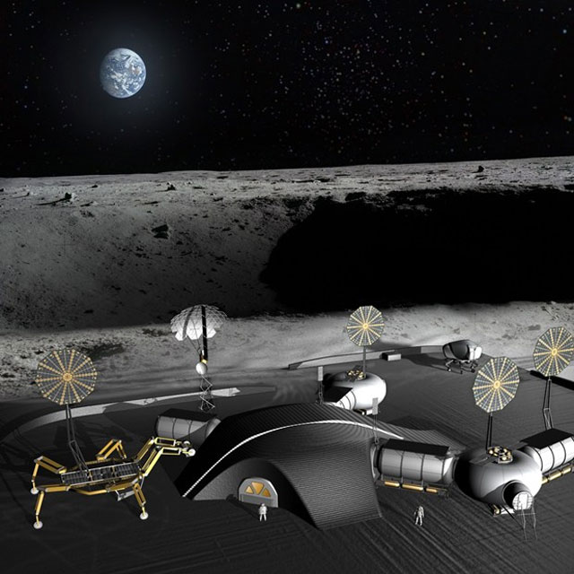 Giant nasa spider robots could 3d print lunar base ars for Nasa architecture