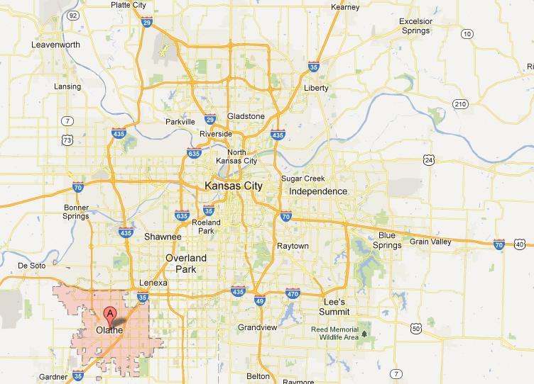 Olathe Kansas Bees First Nonkcadjacent City To Get Google: Map Of Kansas City Area At Slyspyder.com
