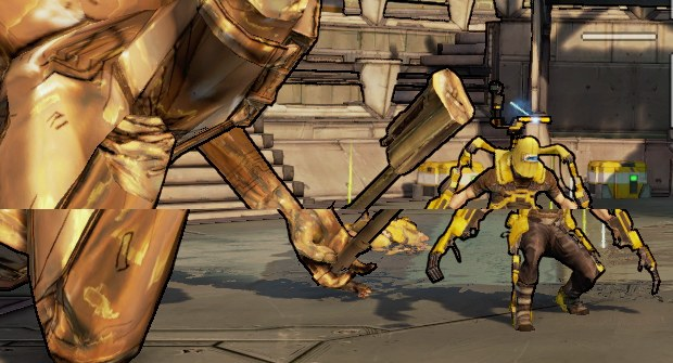 An example of tearing from Borderlands 2.