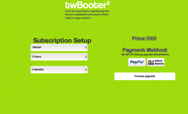 "Individual accounts using TwBooter's server can be ""licensed"" for up to three simultaneous attacks lasting up to two hours, if you can come up with the cash. Free plans can be set up in exchange for filling out a few surveys."