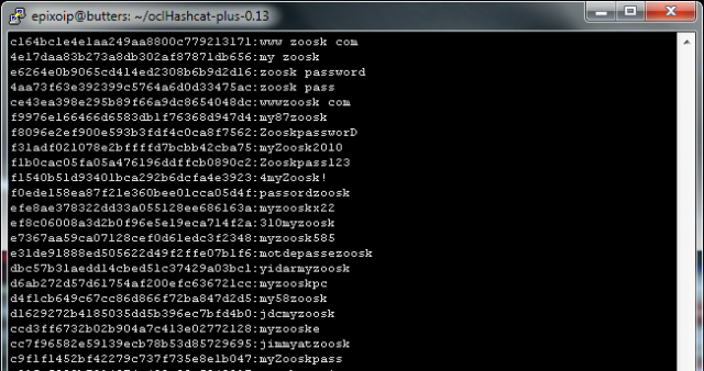 A screenshot from Jeremi Gosney showing passwords cracked by the ocl-Hashcat-plus program.