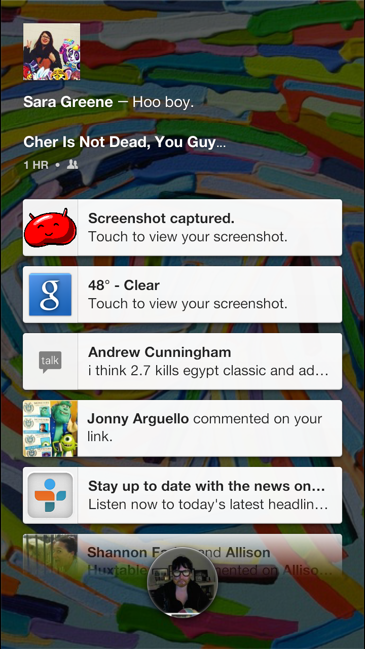 Another screenshot of various notifications, which fade out as they hit the bottom of the screen.