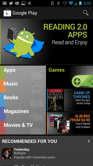 The Google Play store as it currently appears.