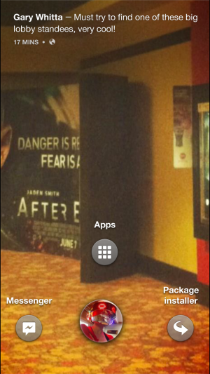 To unlock the screen, hold down on your face in the Cover Feed as you would on the Jelly Bean lock screen.