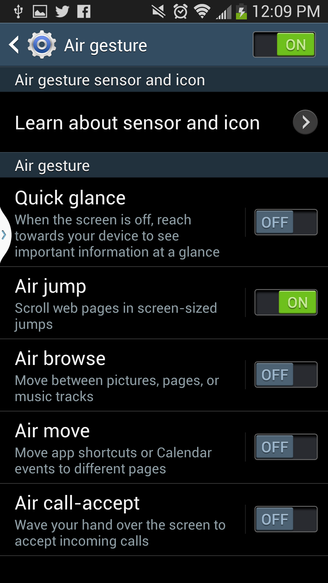 The Air Gesture menu.
