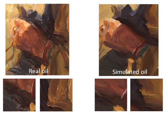 A side-by-side comparison of a real-life oil painting pitted against one done in Microsoft's Fresh Paint.