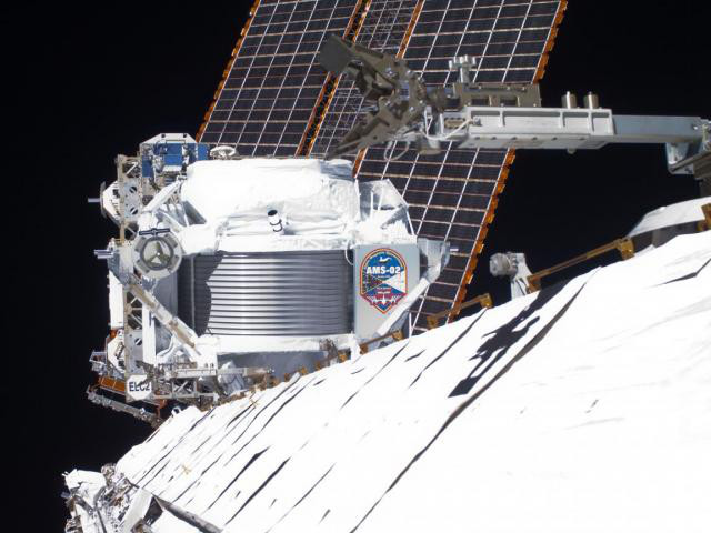 The Alpha Magnetic Spectrometer (AMS-02) particle detector, mounted on the International Space Station.