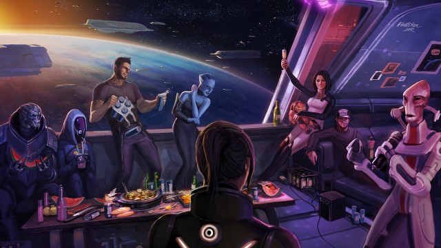 "The desire for a happy ending comes from people not wanting to see the characters they love suffer. Image is ""Mass Effect 3: How it Should've Ended"" by DeviantArt user Hellstern"