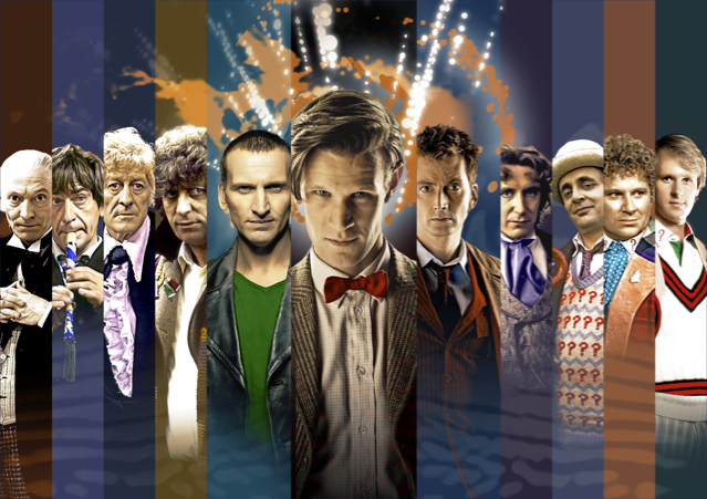 From left to right: William Hartnell, Patrick Troughton, Jon Pertwee, Tom Baker, Christopher Eccleston, Matt Smith, David Tennant, Paul McGann, Sylvester McCoy, Colin Baker, and Peter Davison