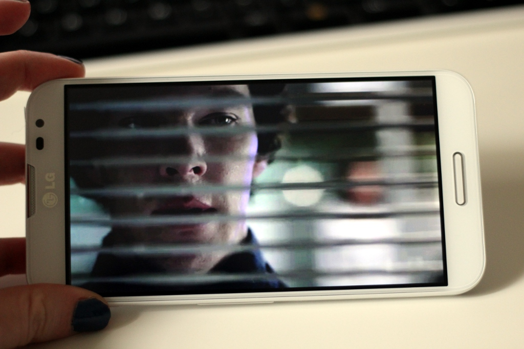 An episode of <em>Sherlock</em> is thoroughly enjoyable on the Optimus G Pro's 1080p screen.