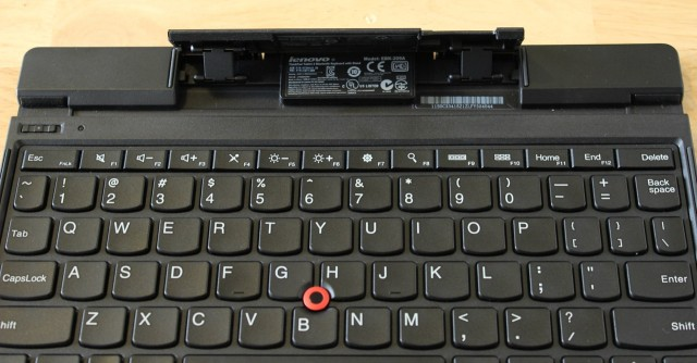 A kickstand folds out of the keyboard to prop the tablet up.