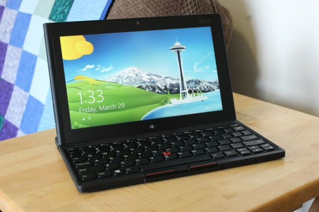 The ThinkPad Tablet 2 in its keyboard stand.