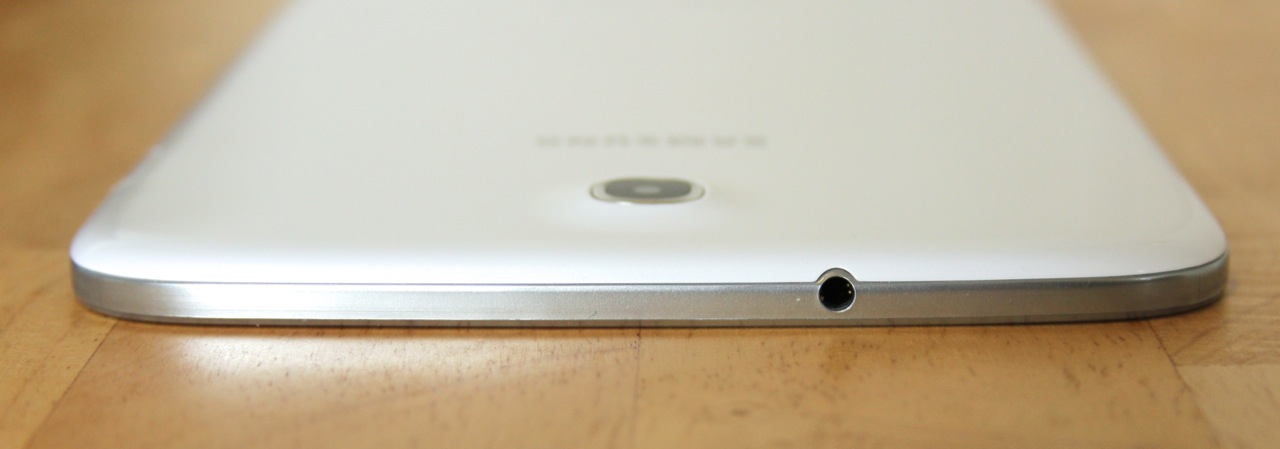 A headphone jack is the lone port on the top of the tablet.