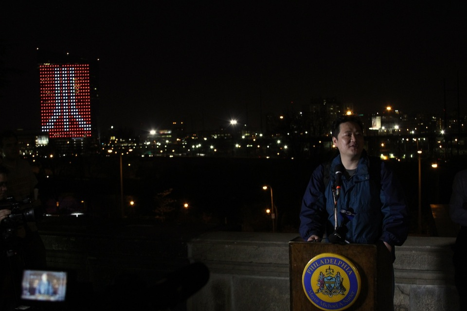 Frank Lee, Drexel computer science professor and Co-Founder and Co-Director of Drexel's game design program, introduces his game on Friday night.