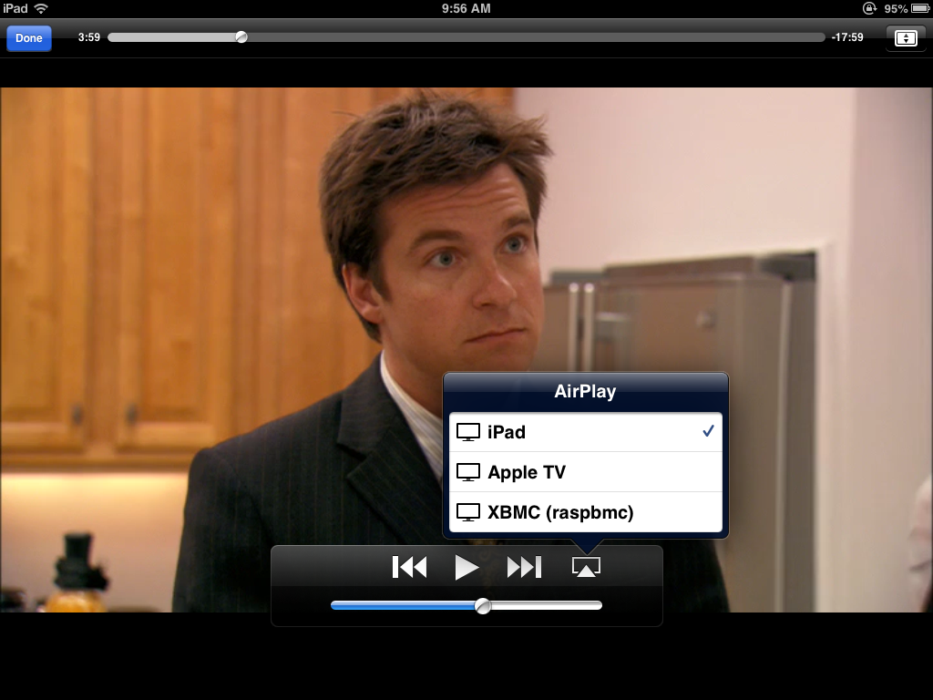 My AirPlay receivers: An Apple TV downstairs, a Raspberry Pi upstairs.