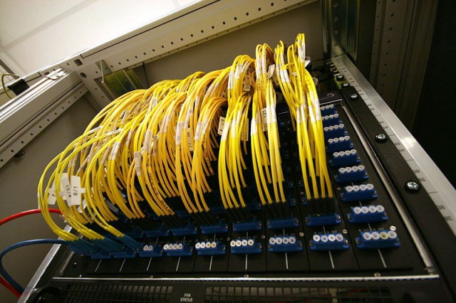 Optical patch panel at the AMS-IX Internet exchange point in Amsterdam, which was targeted by the attackers.
