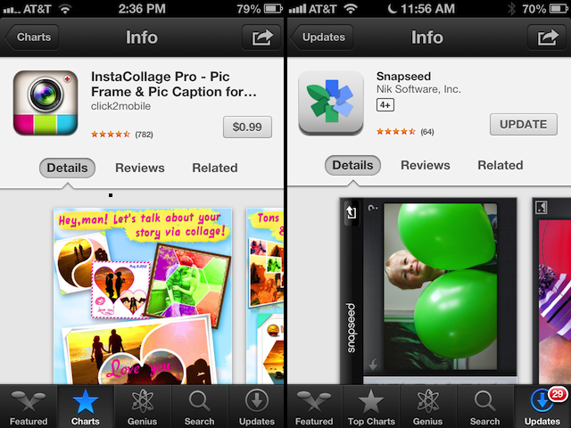 The old App Store app page layout, left, and new layout, right.