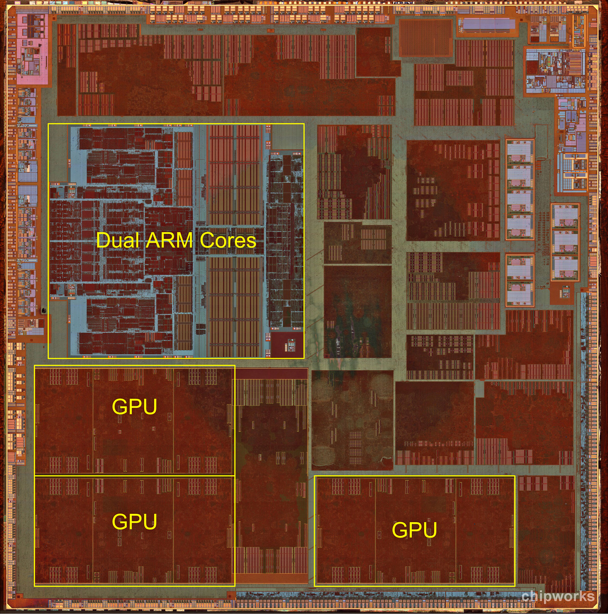 "The ""die shot"" of Apple's A6, as done by Chipworks. They've highlighted the CPU and GPU cores, but there are lots of other components that make up an SoC."