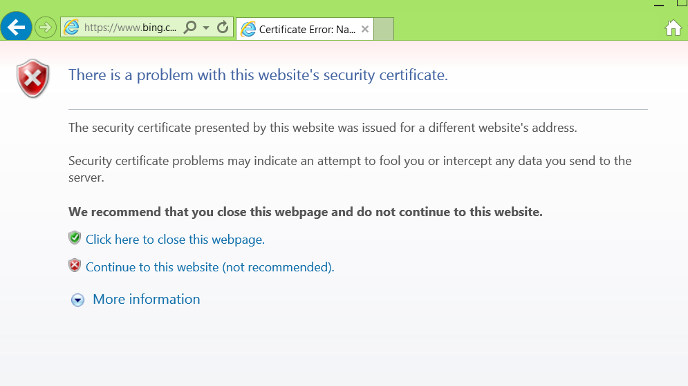Bing Blocked By Browsers Because Of Bad Certificate Ars Technica