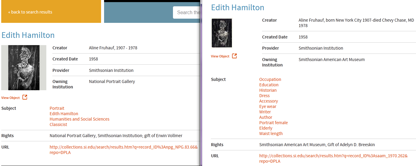 What appears to be duplicates of the same portrait of Edith Hamilton, writer and translator.