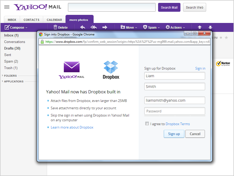 Rather than recreate Google Drive, Yahoo integrates Dropbox into