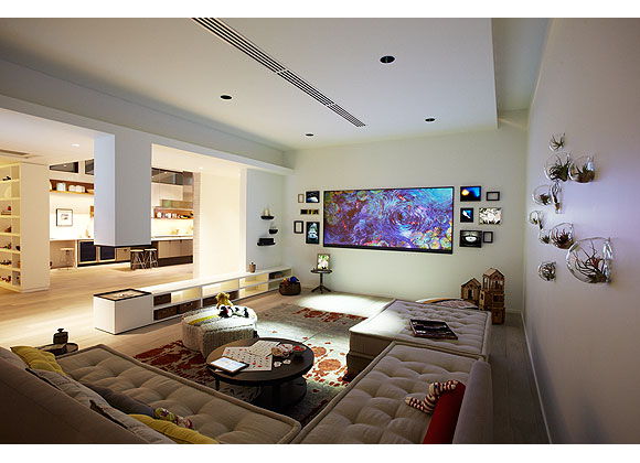 "A photo of the living room ""of the future"" in Microsoft's Envisioning Center."