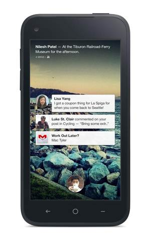 The Facebook Home-enabled lock screen/cover feed.
