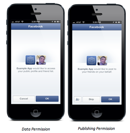 The new permission dialog for apps that will let users share directly to Facebook.