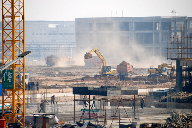 Foxconn Zhengzhou facility, under construction in February 2012.