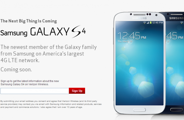 Interested in a Samsung Galaxy S 4? There's a sign up page for that