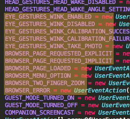 A screenshot of the code that handles the wink-as-gesture.