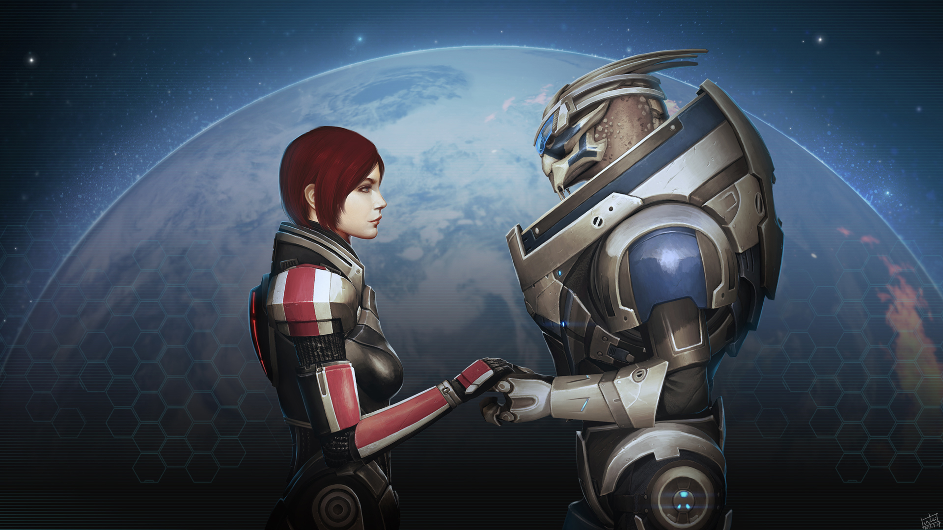 "Garrus and FemShep are an overwhelmingly popular romance choice. Image is ""I'm With You,"" by DeviantArt user Wei723."