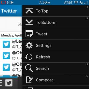 Some keyboard shortcuts are labeled in BlackBerry 10's menus.