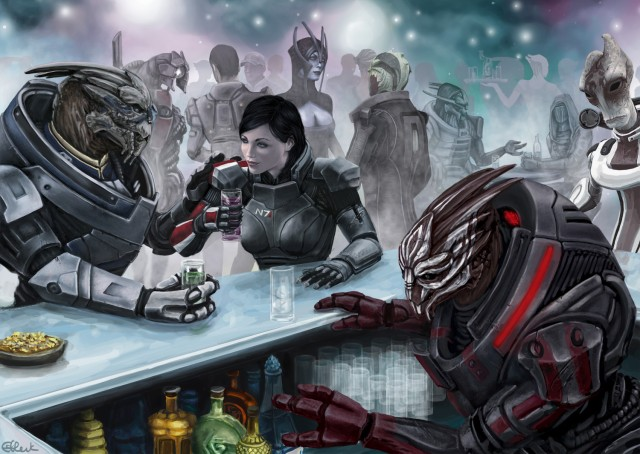 """Not sure if Turian heaven is the same as yours, but if things go sideways and we both end up there...meet me at the bar."" Image is ""Meet Me at the Bar"" by DeviantArt user efleck."