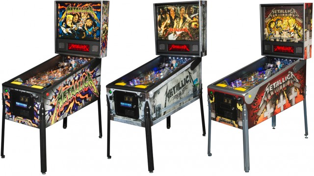 The Stern <em>Metallica</em> pinball tables in Pro, Premium, and Limited Edition Master of Puppets models.