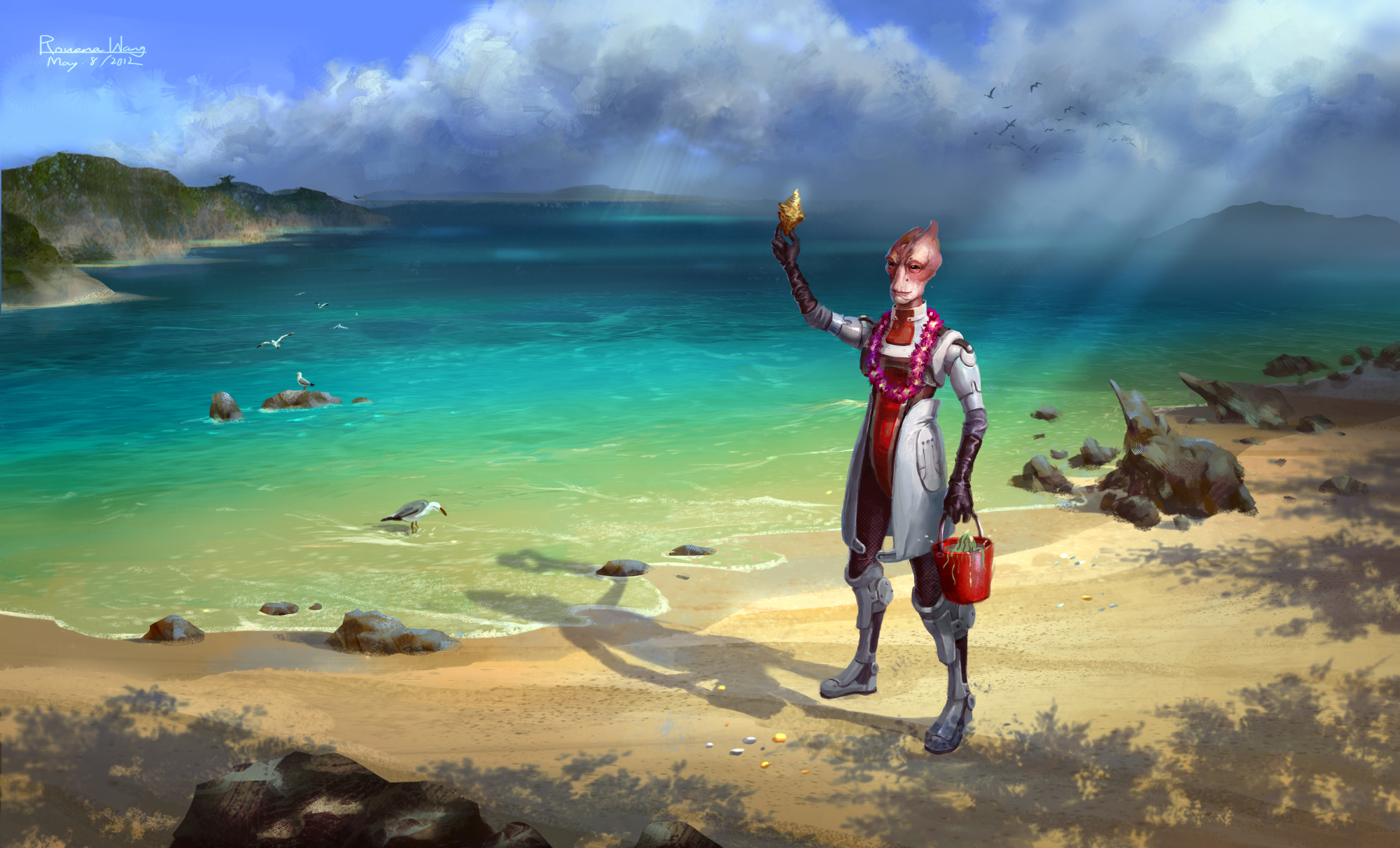 "Might run tests on the seashells! Image is ""Mordin the Great Marine Biologist,"" by DeviantArt user uriska."