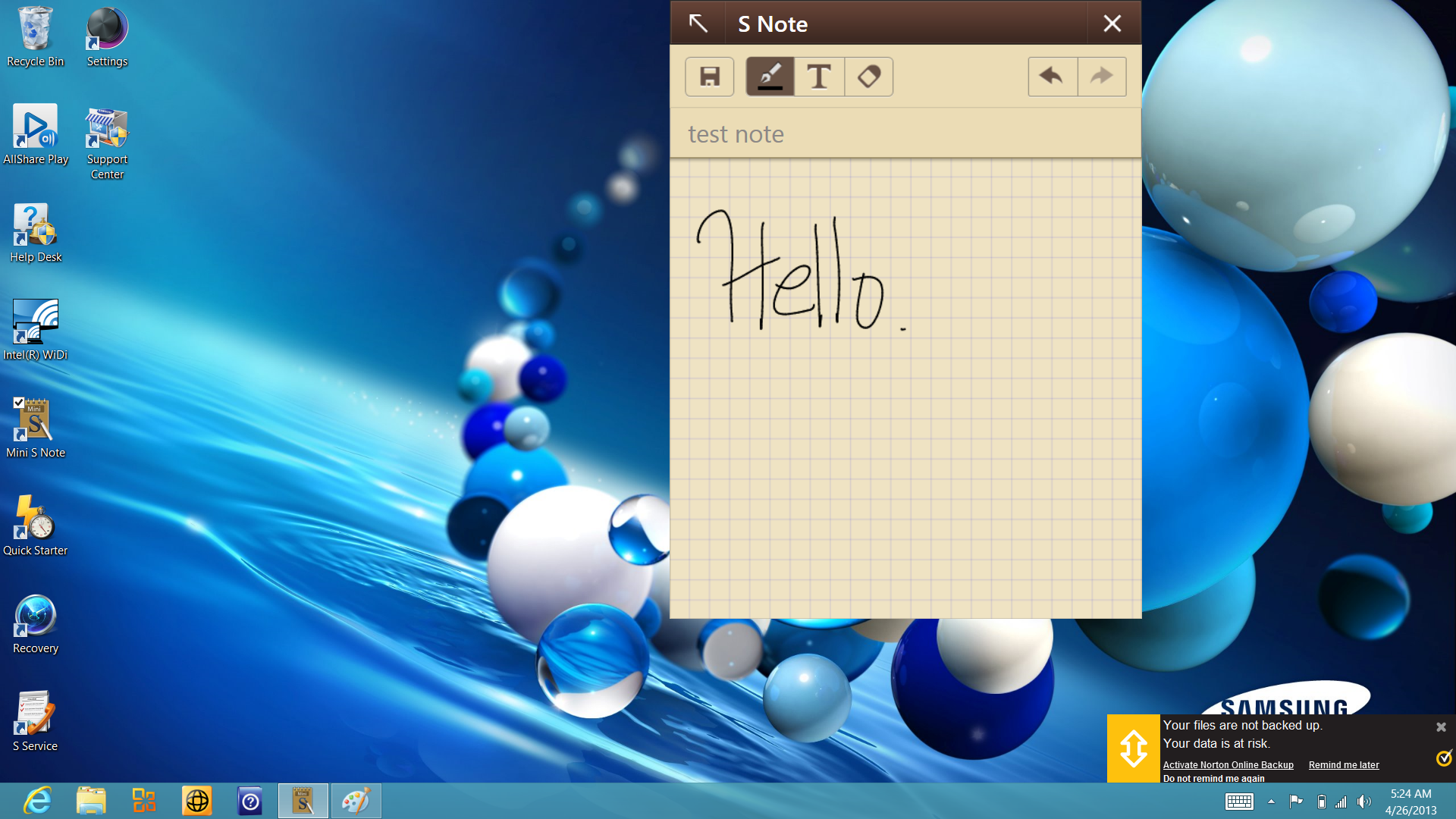 "The ""mini-S Note"" applet available in the desktop mode of Windows 8 is a scratchpad for photos, scribbles, and handwriting-recognition notes."