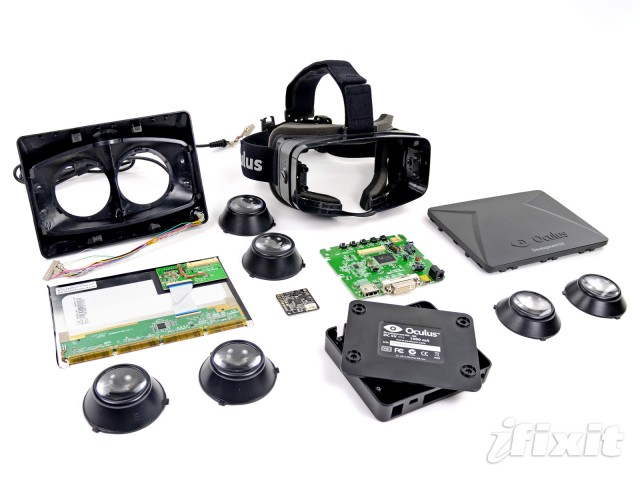 All the bits and pieces that go into a pair of virtual reality goggles.
