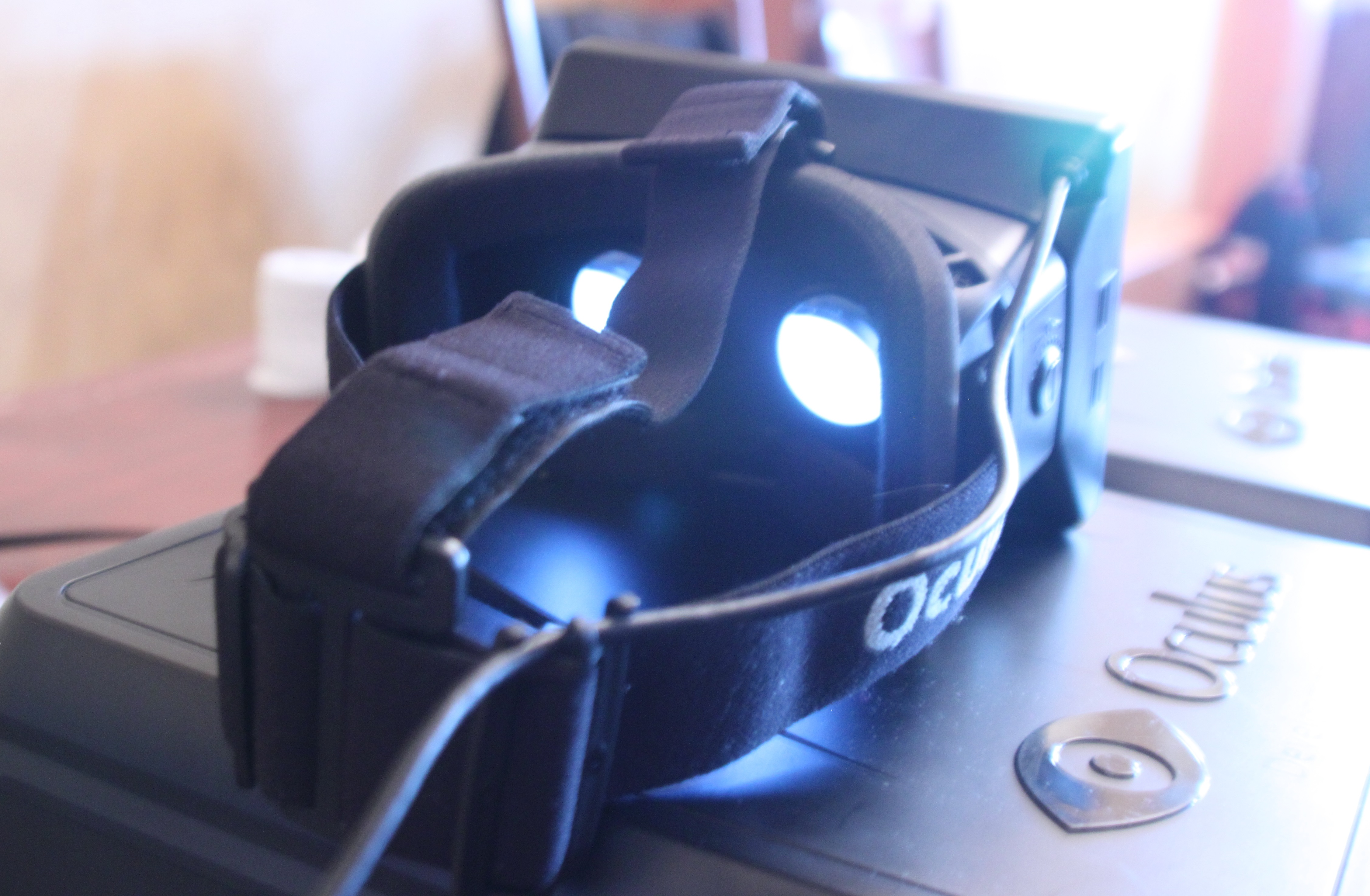 The final Oculus Rift development kit sitting on top of its included carrying case.