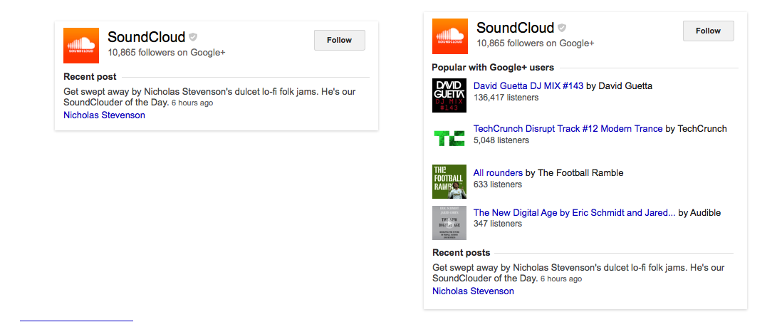Soundcloud search results, before (left) and after (right) the addition of Google+ user data streams.