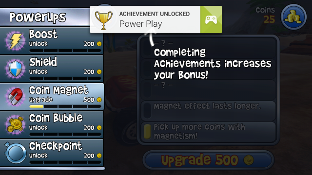 When players unlock an achievement, a little notification drops down with the badge they've earned.