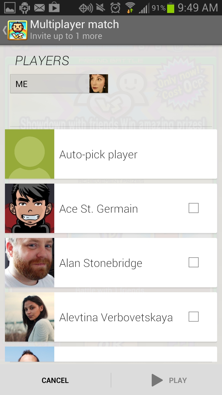 You can select whether you want Google to match you up randomly with a friend from Google Plus or not.