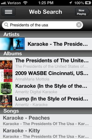 Searching for music is easy within gMusic.