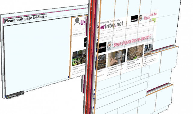 """A 3-D representation of a webpage used to deliver """"invisible"""" display ads, with stacked ad spaces that visitors never see. Pages like these get stuffed into small ad slots in legitimate websites through ad networks."""